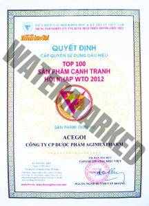 Top 100 products competitive for integrating into WTO 2012